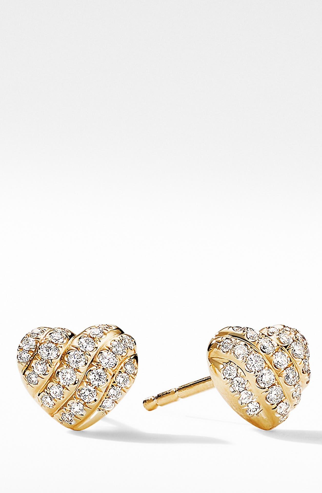 18K 2Tone GOLD GF Pave Simulated Diamond WOMENS GIRLS Dress Heart Stud EARRINGS