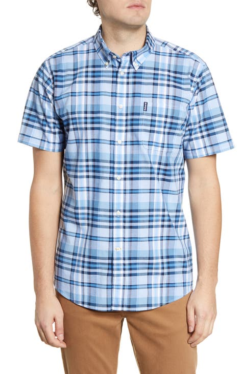 Barbour Madras 5 Tailored Fit Short Sleeve Button-Down Shirt