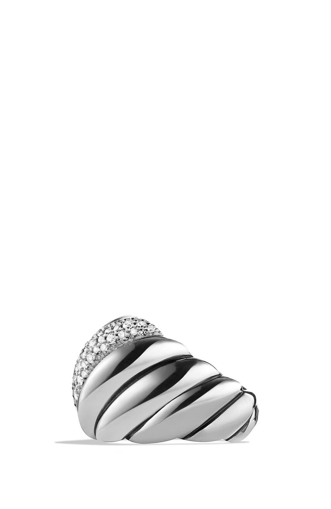 'Hampton Cable' Ring with Diamonds,                             Alternate thumbnail 3, color,                             Diamond