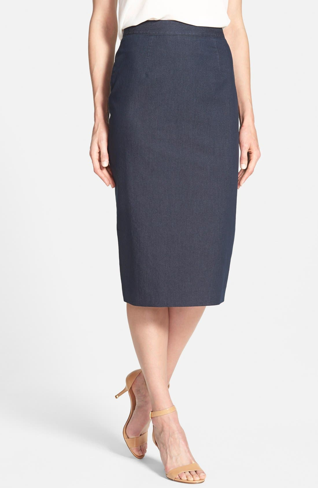 Main Image - Halogen® Denim Midi Pencil Skirt