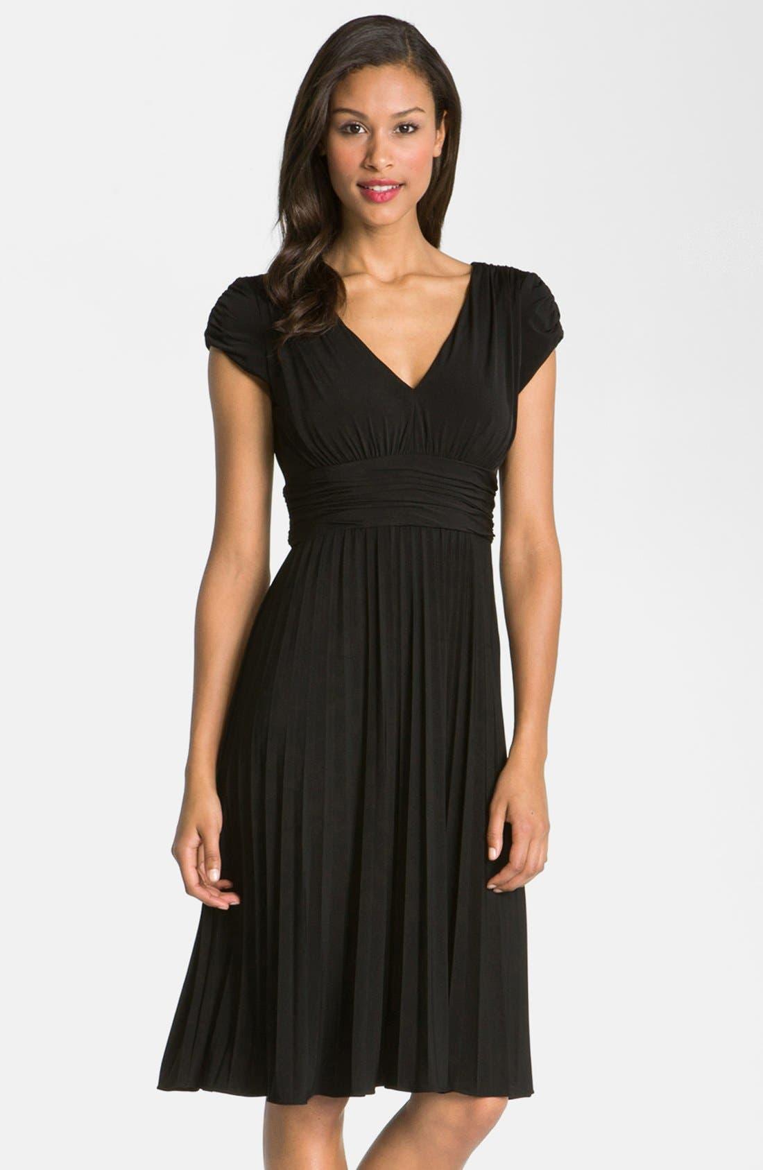 'Sunburst' Pleated Jersey Fit & Flare Dress,                             Main thumbnail 1, color,                             Black