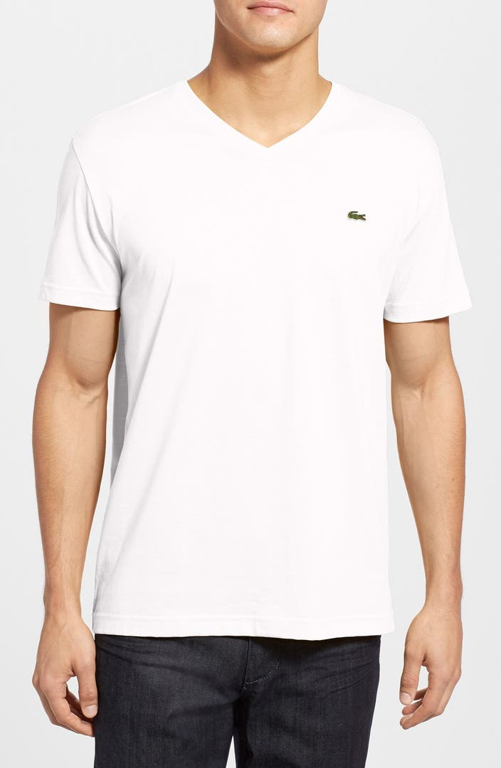 Lacoste pima cotton jersey v neck t shirt nordstrom for Pima cotton tee shirts