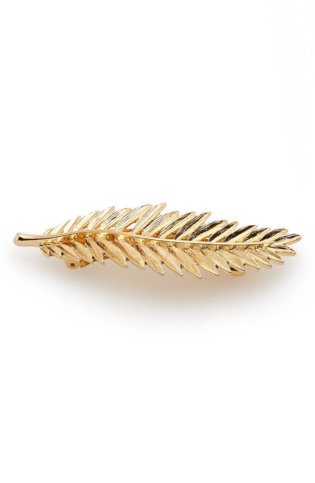 'Gold Leaves' Barrette,                         Main,                         color, Gold