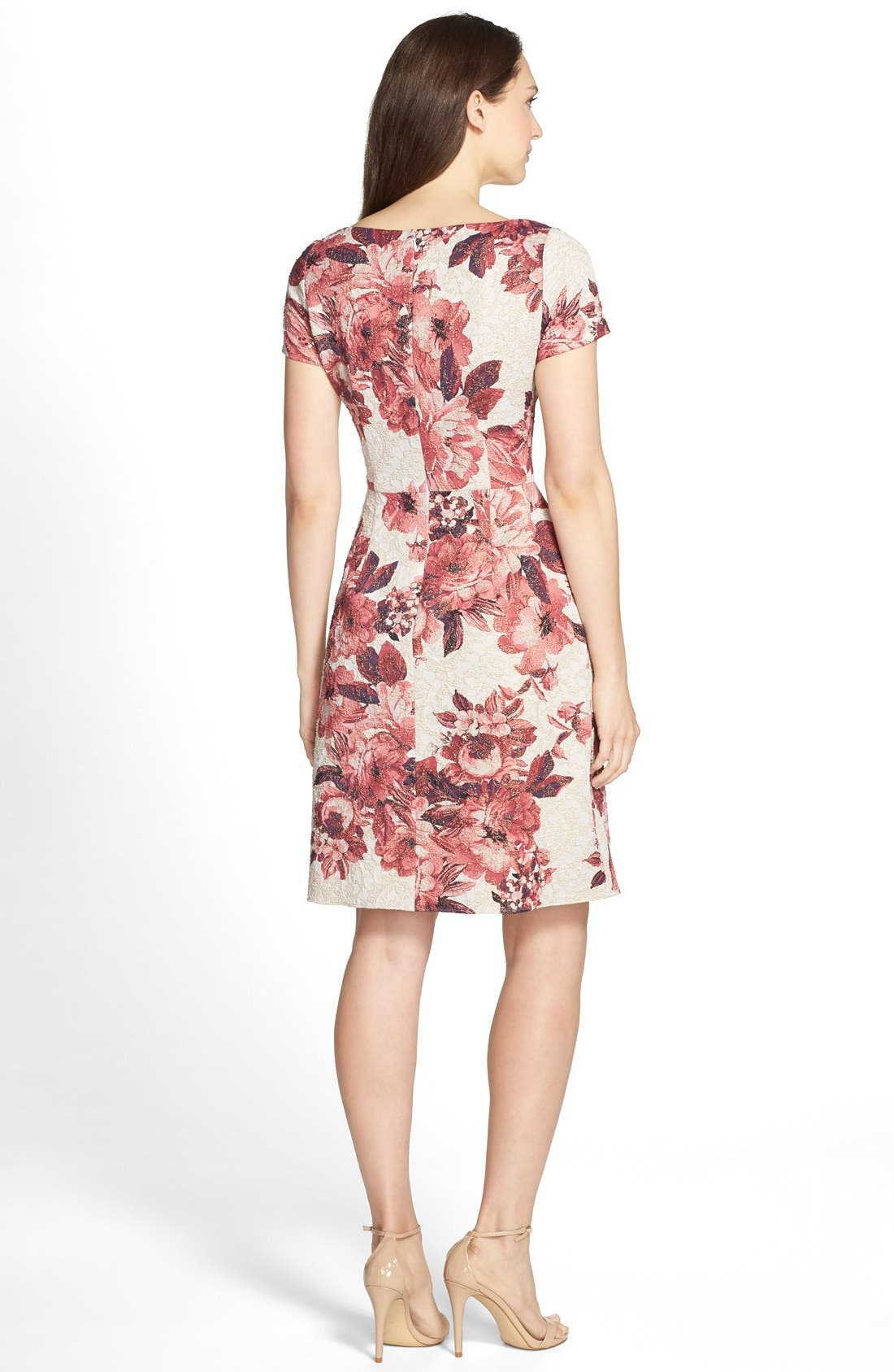 Alternate Image 2  - Adrianna Papell Floral Matelassé Fit & Flare Dress (Regular & Petite)