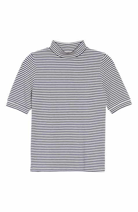 Madewell Stripe Drapey Mock Neck Top
