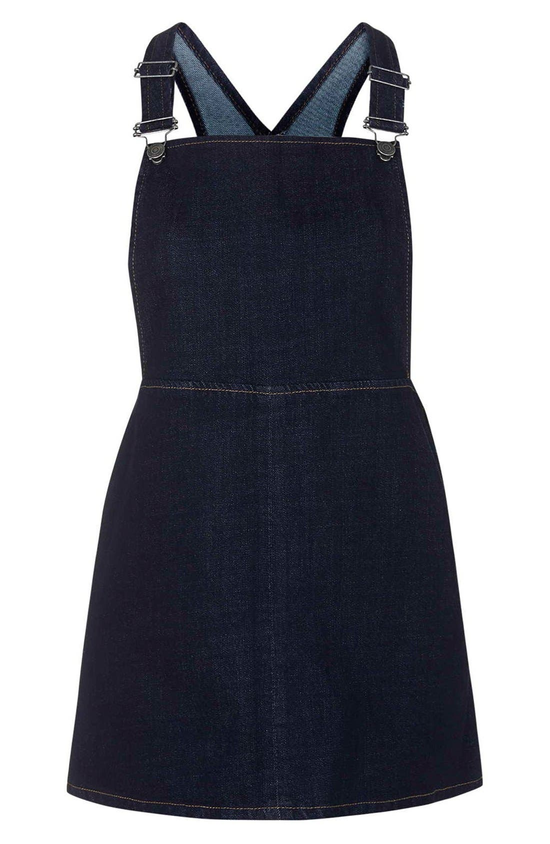 Alternate Image 3  - Topshop Moto Denim Pinafore Dress (Petite)