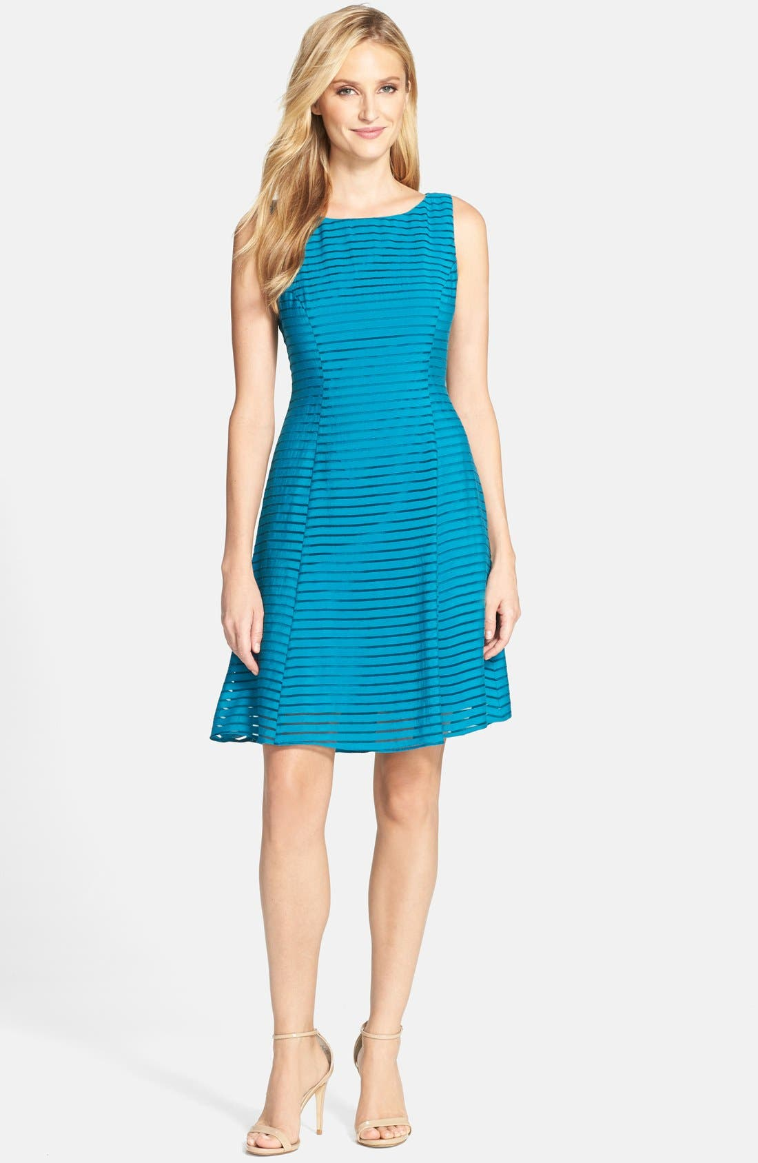 Alternate Image 3  - Adrianna Papell Ribbon Stripe Fit & Flare Dress