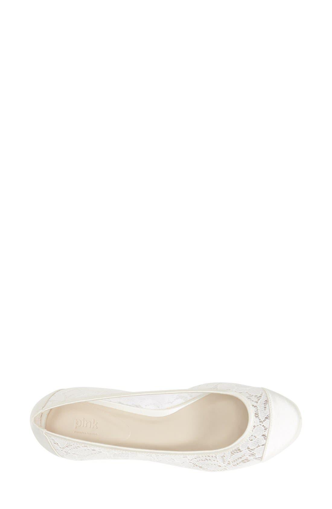 'Sweetie' Lace Cap Toe Ballet Flat,                             Alternate thumbnail 3, color,                             Ivory Lace/ Mesh