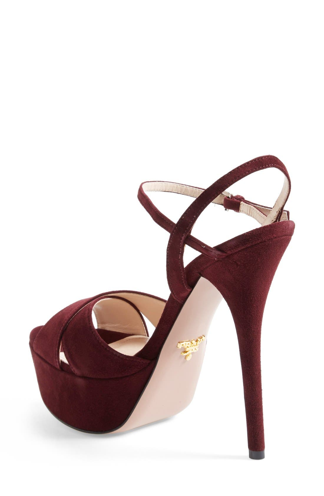 Strappy Sandal,                             Alternate thumbnail 2, color,                             Burgundy Suede