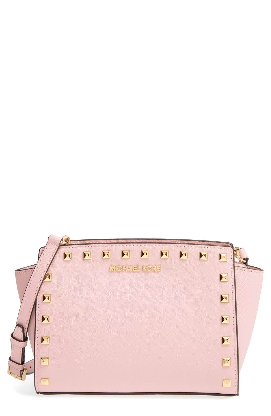 'Selma - Stud' Saffiano Leather Crossbody Bag,                             Main thumbnail 1, color,                             Blossom