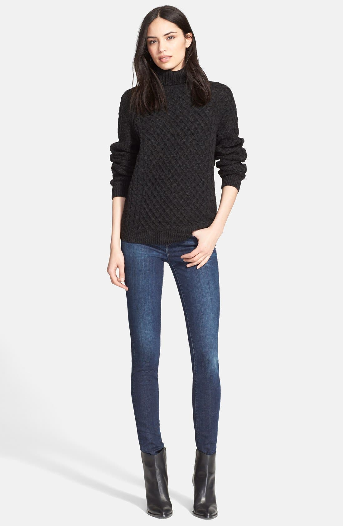 Textured Cable Knit Sweater,                             Alternate thumbnail 4, color,                             Charcoal