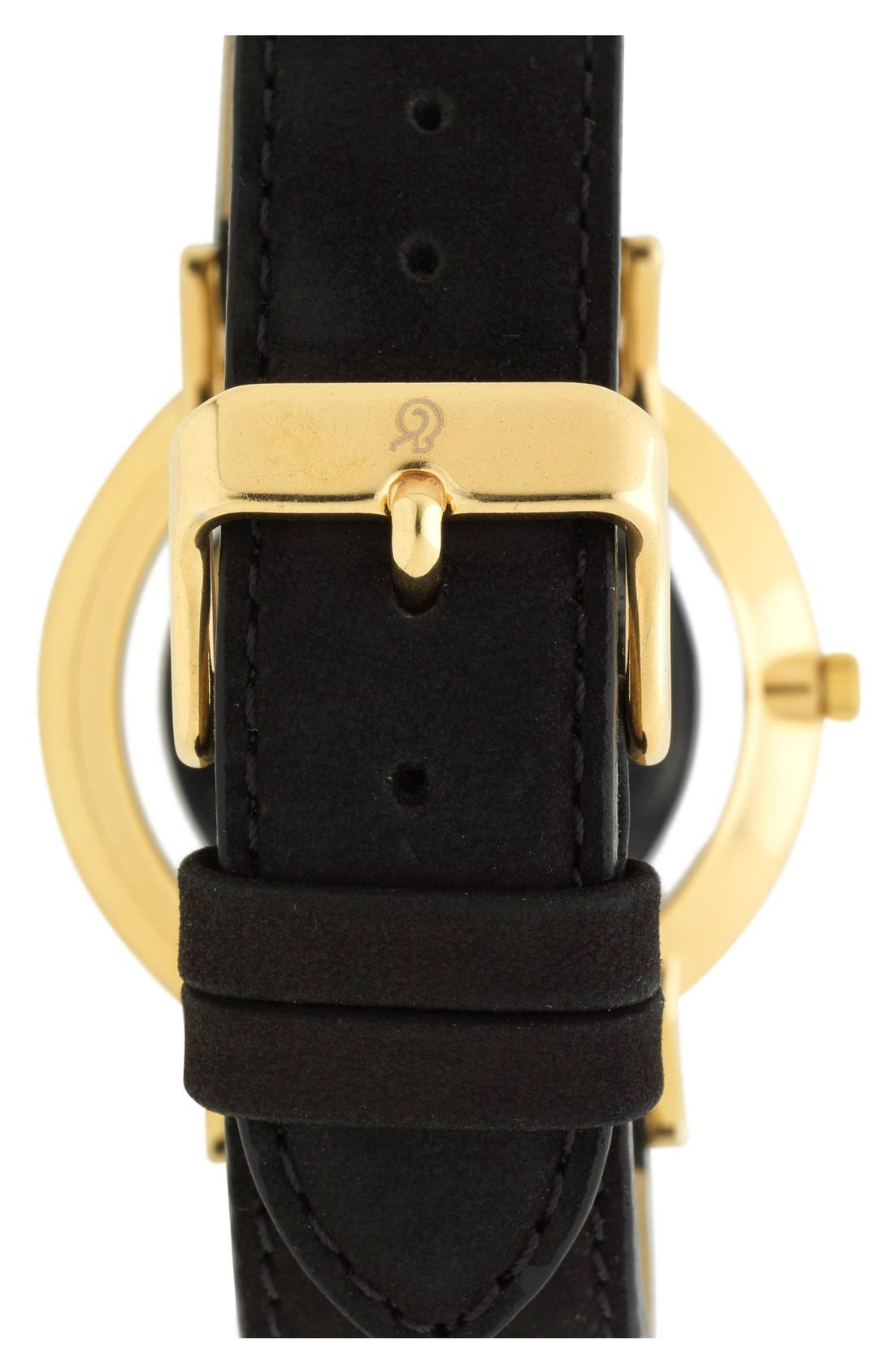'Lugano' Leather Strap Watch, 40mm,                             Alternate thumbnail 2, color,                             Black/ Gold
