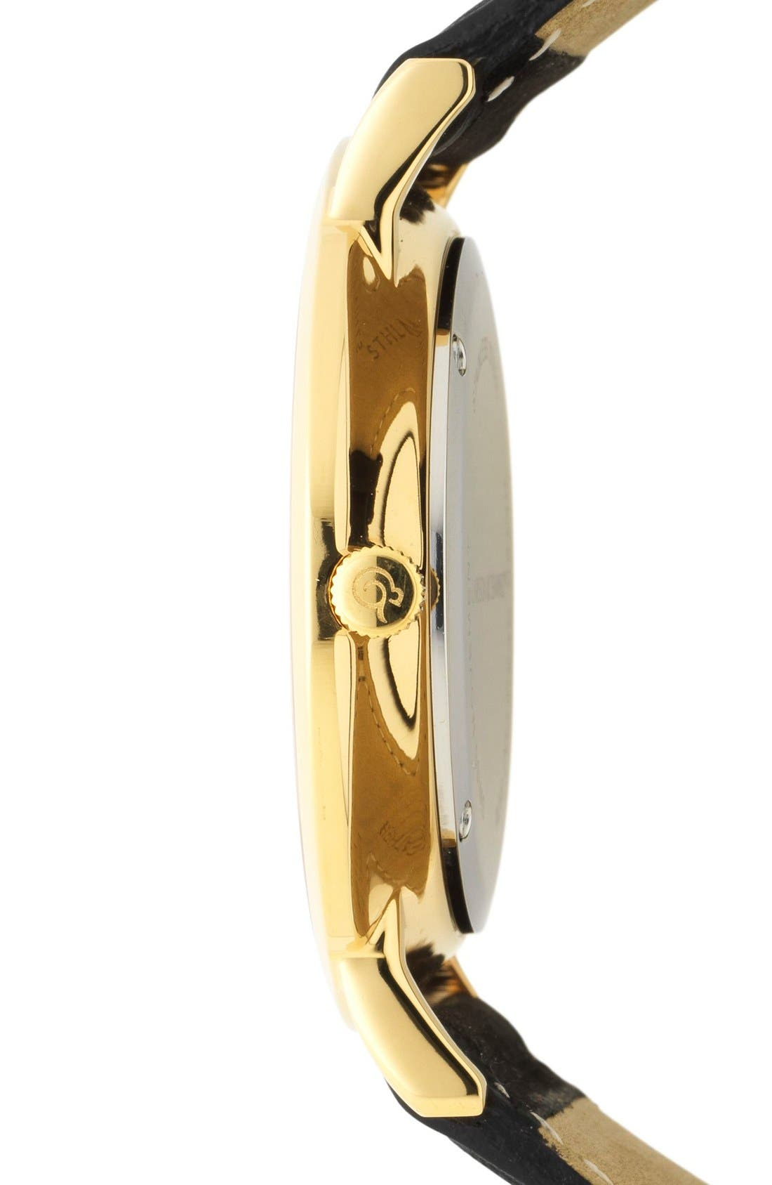 'Lugano' Leather Strap Watch, 40mm,                             Alternate thumbnail 3, color,                             Black/ Gold