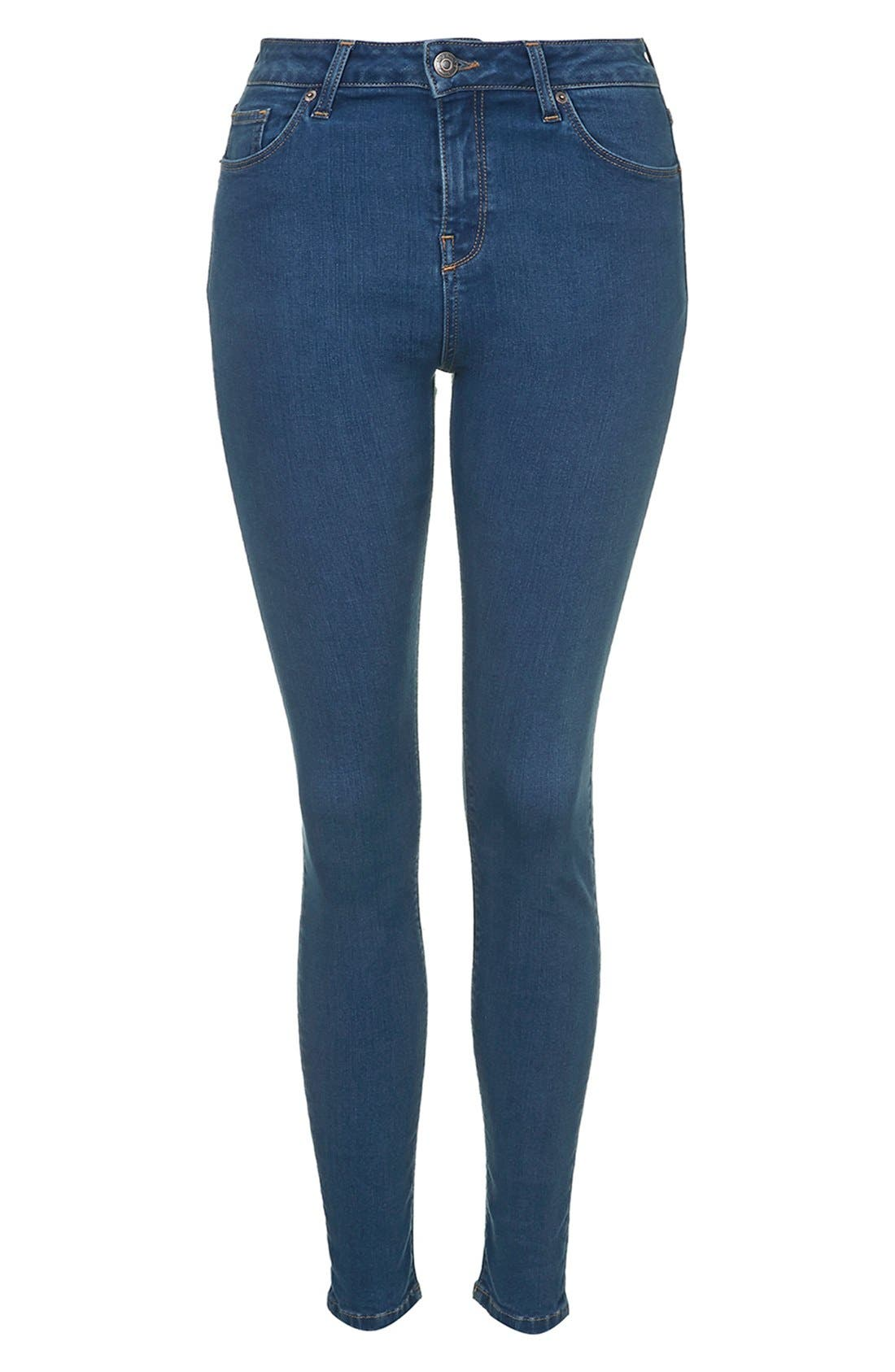 Alternate Image 4  - Topshop Moto 'Jamie' High Rise Skinny Jeans (Blue)