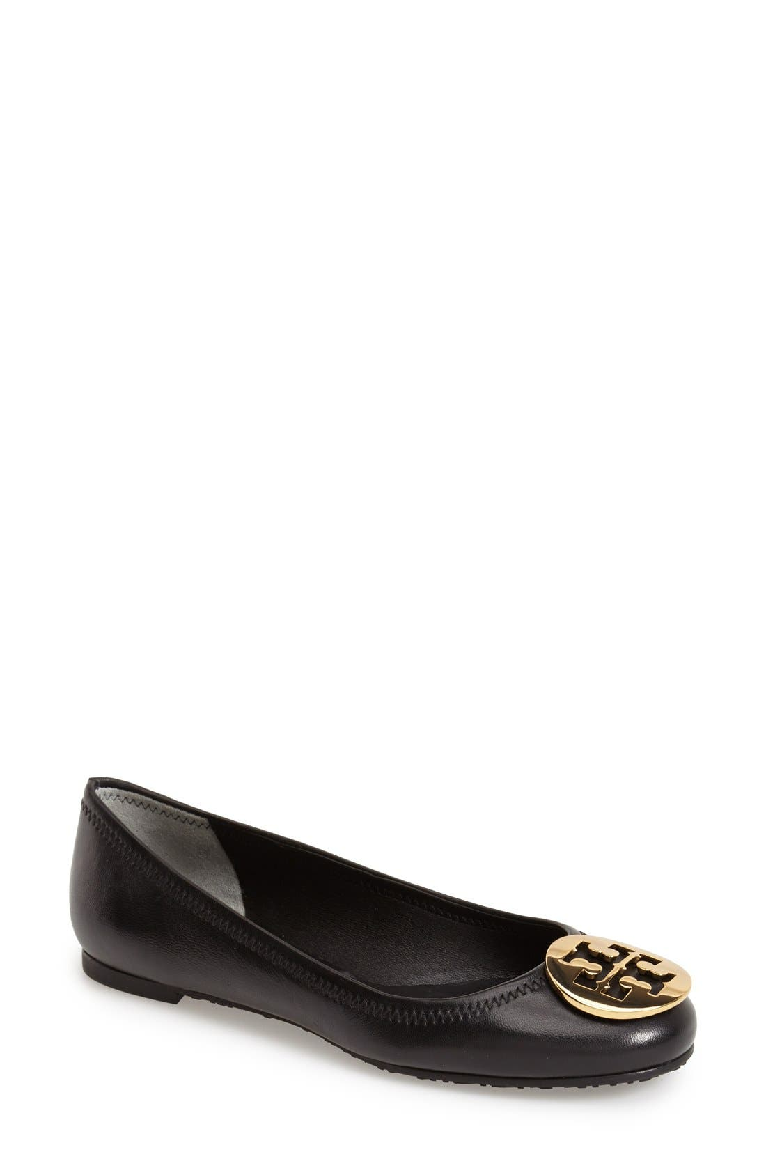 'Reva' Ballerina Flat,                         Main,                         color, Black / Gold Logo
