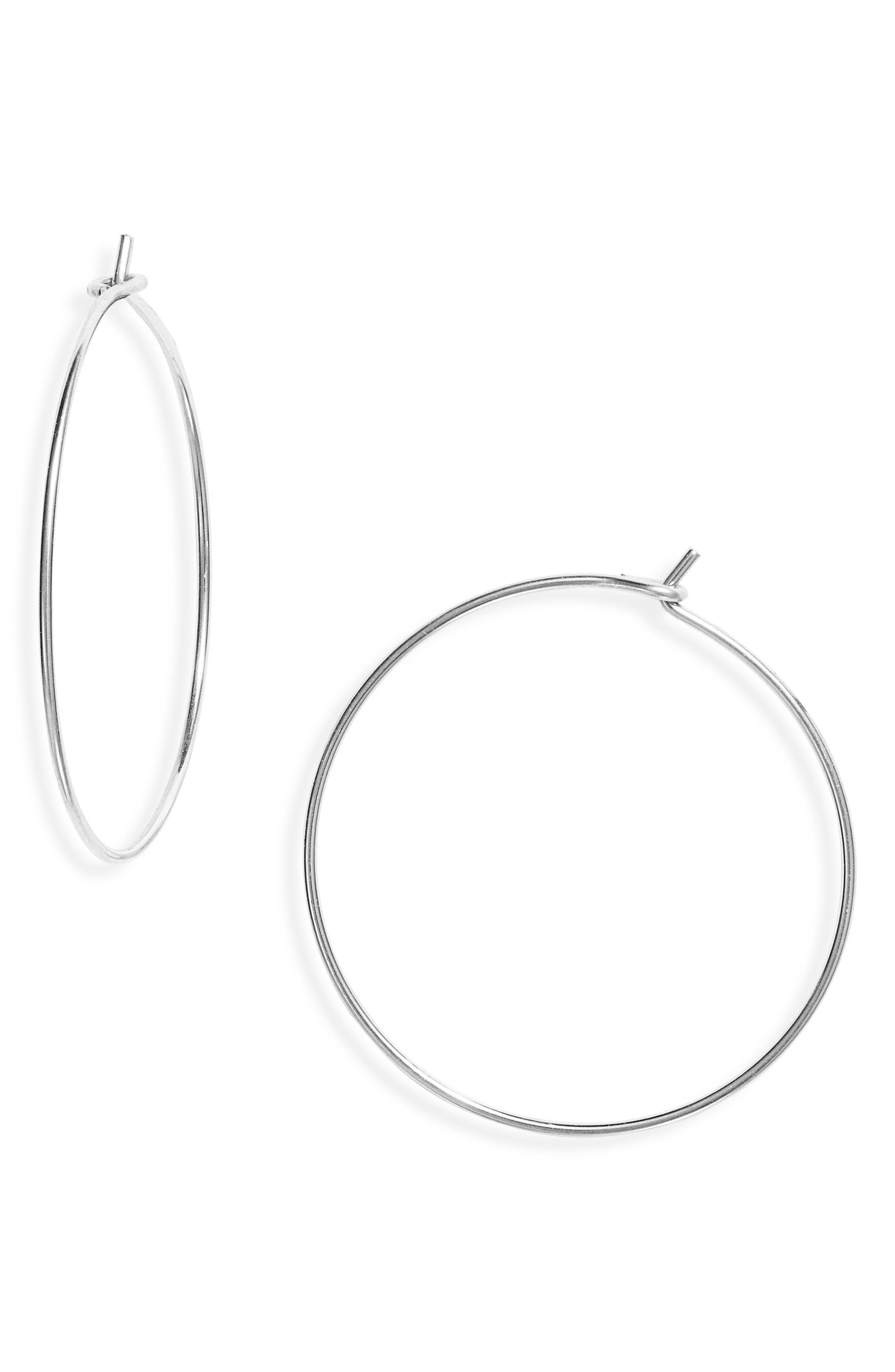 Flat Hoop Jewelry Women/'s Thin Silver Circle Jewelry Silver Disc Dangle Earrings Women/'s Medium Silver Hoop Earrings Mirror Earrings