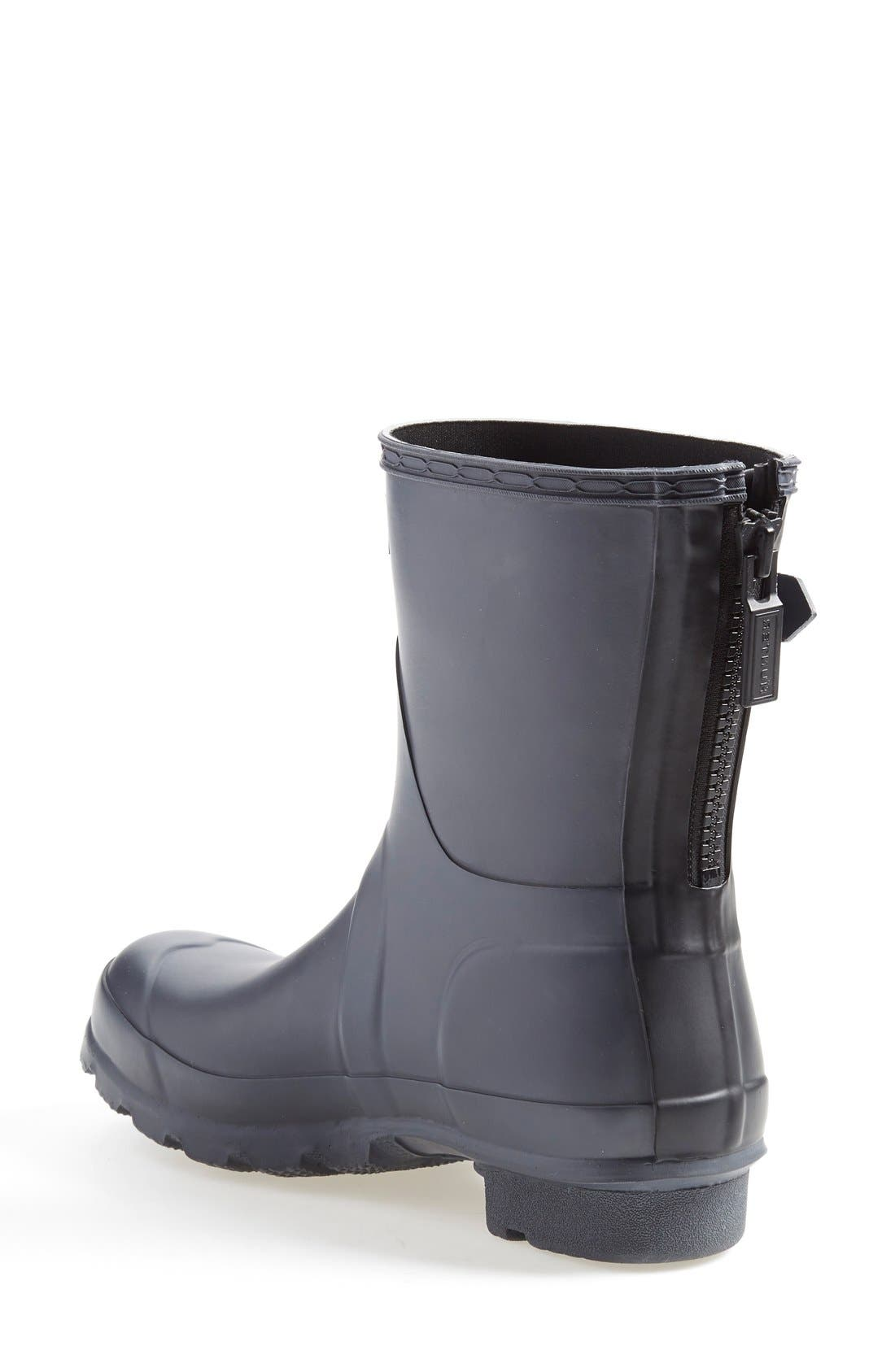 'Short' Back Zip Rain Boot,                             Alternate thumbnail 2, color,                             Slate/ Black