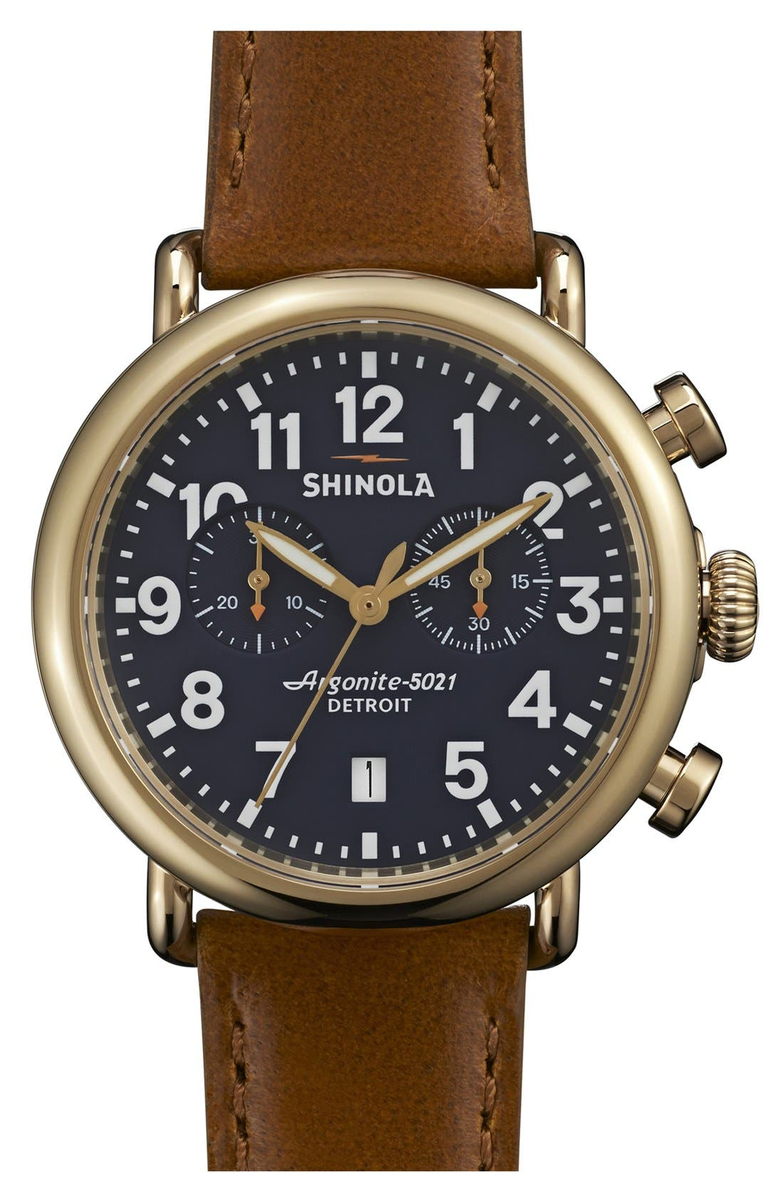 'The Runwell Chrono' Leather Strap Watch, 41mm,                         Main,                         color, Tan/ Midnight Blue