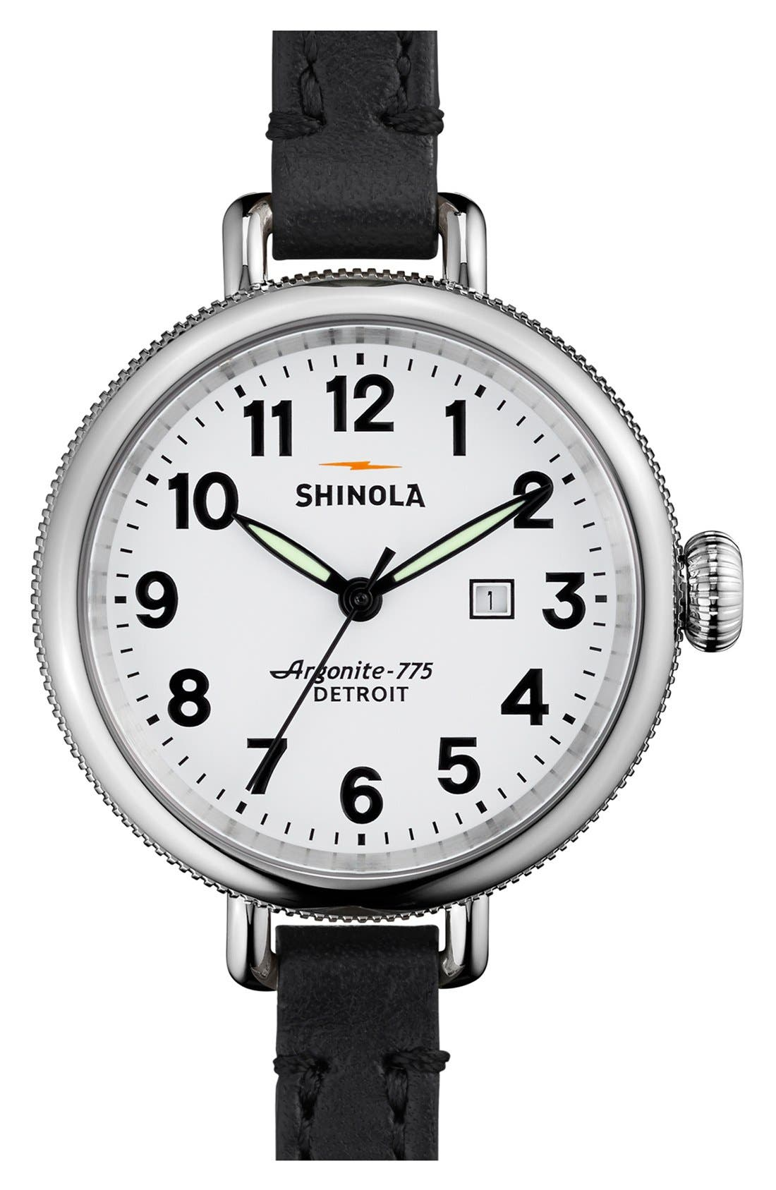 'The Birdy' Double Wrap Leather Strap Watch, 34mm,                         Main,                         color, Black/ White