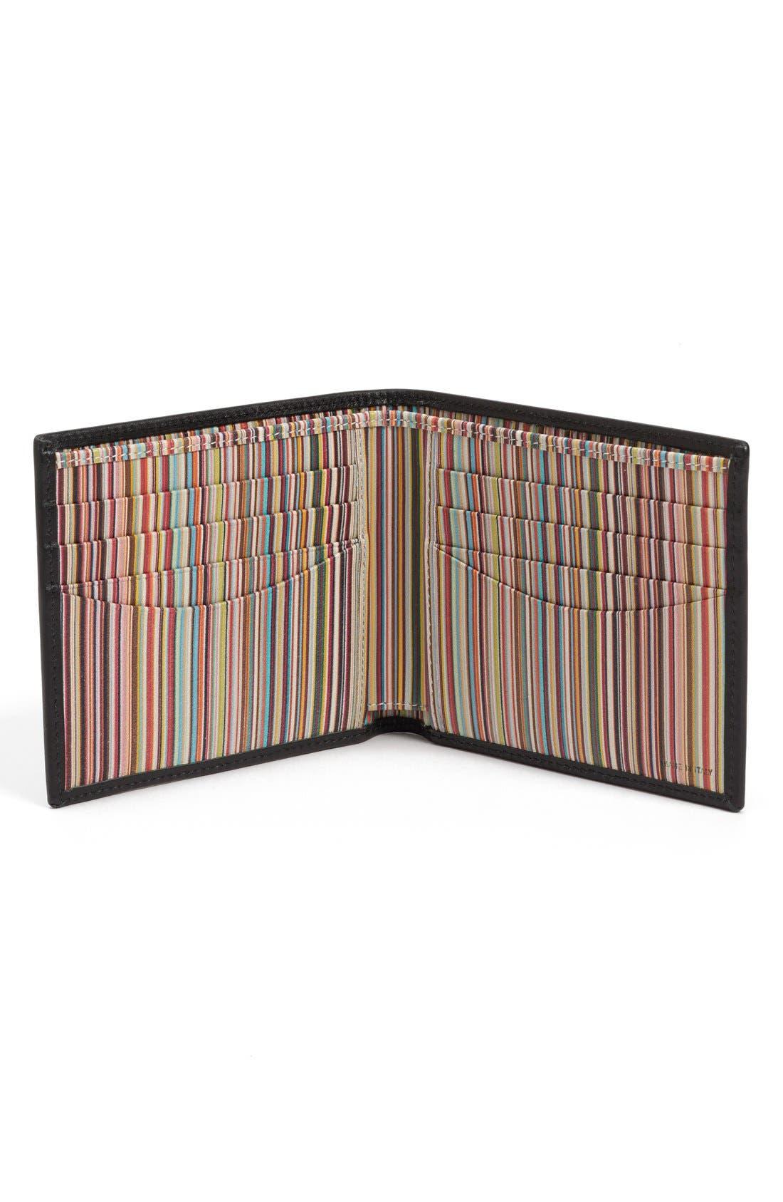 Interior Stripe Leather Billfold,                             Alternate thumbnail 2, color,                             Black