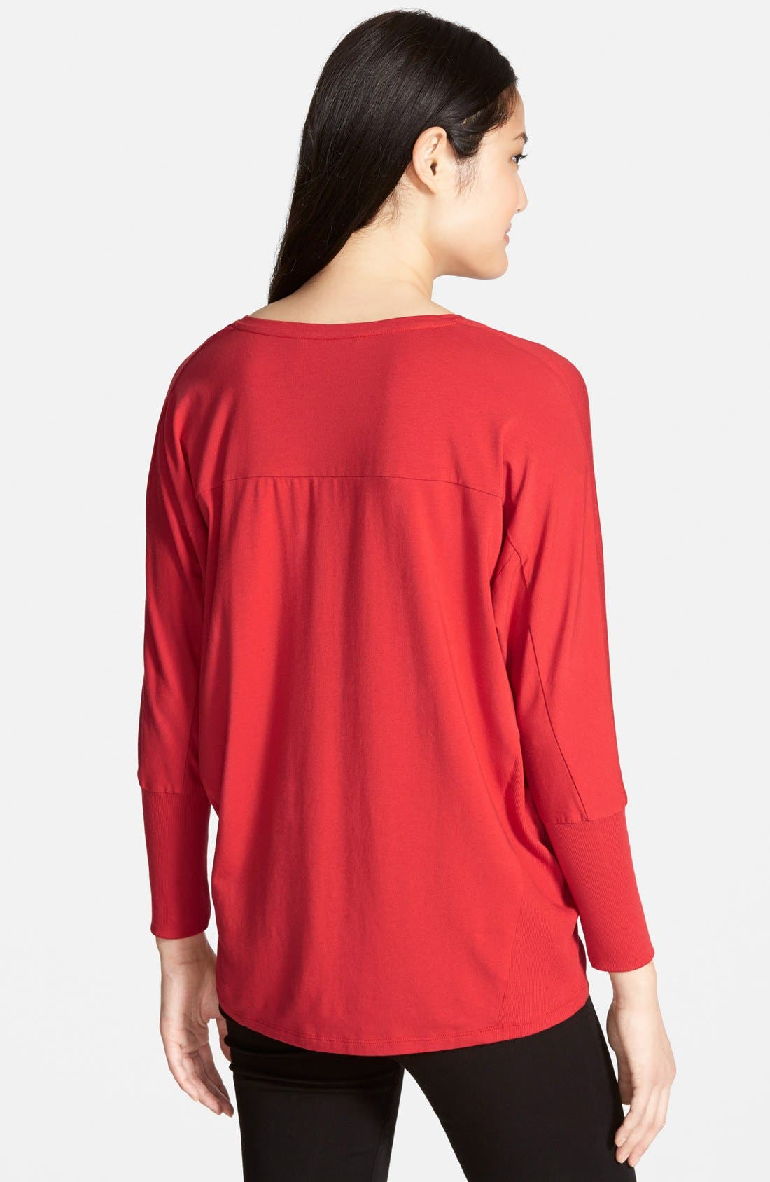 Alternate Image 4  - Two by Vince Camuto 'Saturday' V-Neck Mixed Media Top (Regular & Petite) (Nordstrom Exclusive)
