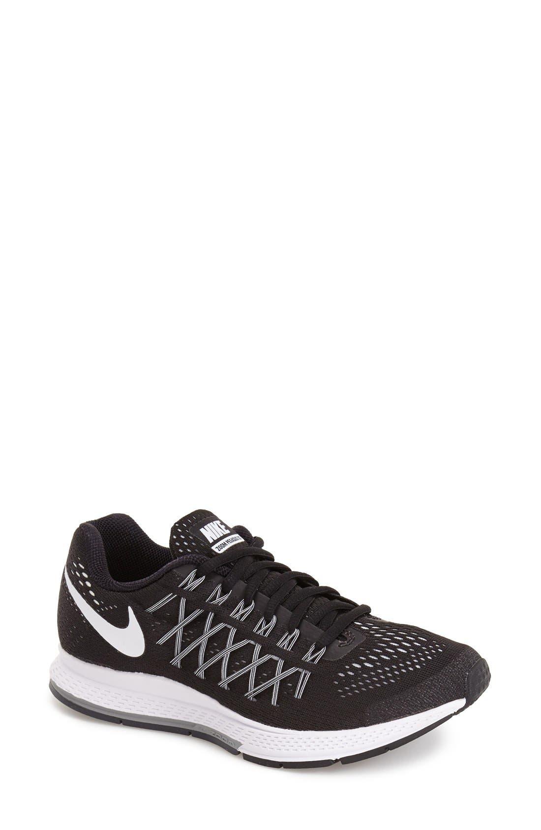 'Zoom Pegasus 32' Running Shoe,                         Main,                         color, Black/ White/ Pure Platinum