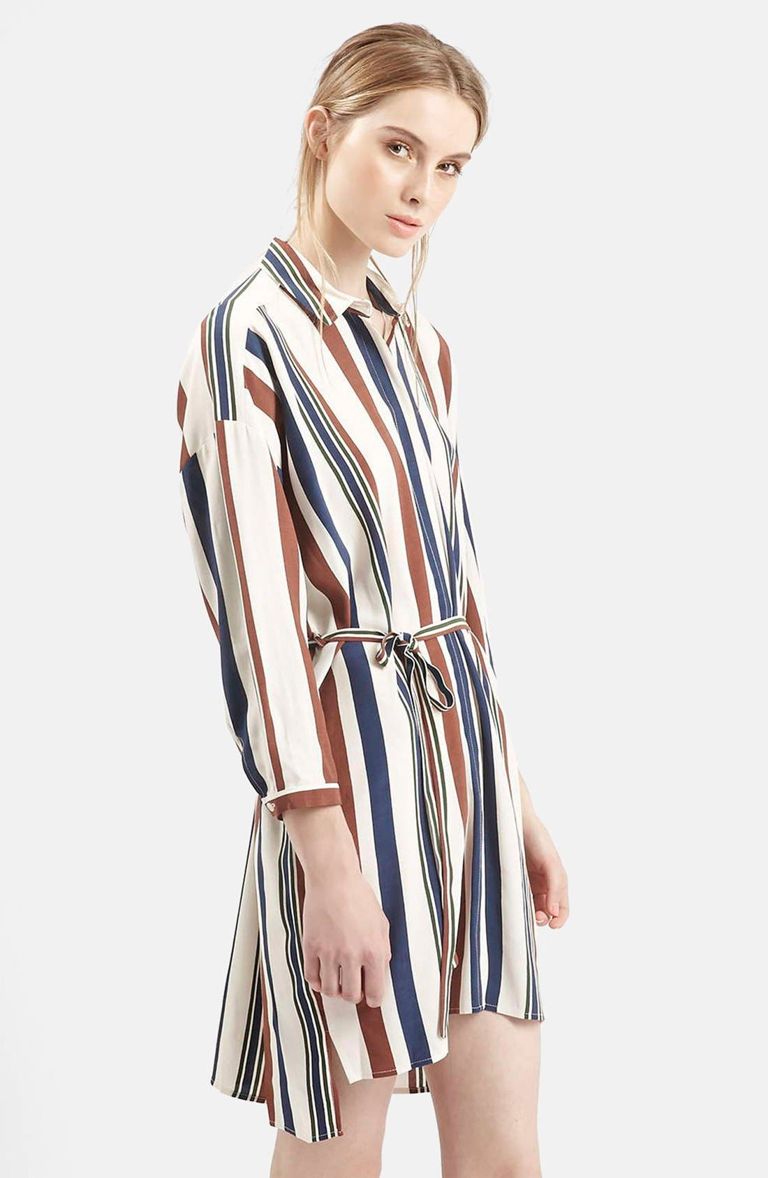 Alternate Image 3  - Topshop Stripe Belted Shirtdress