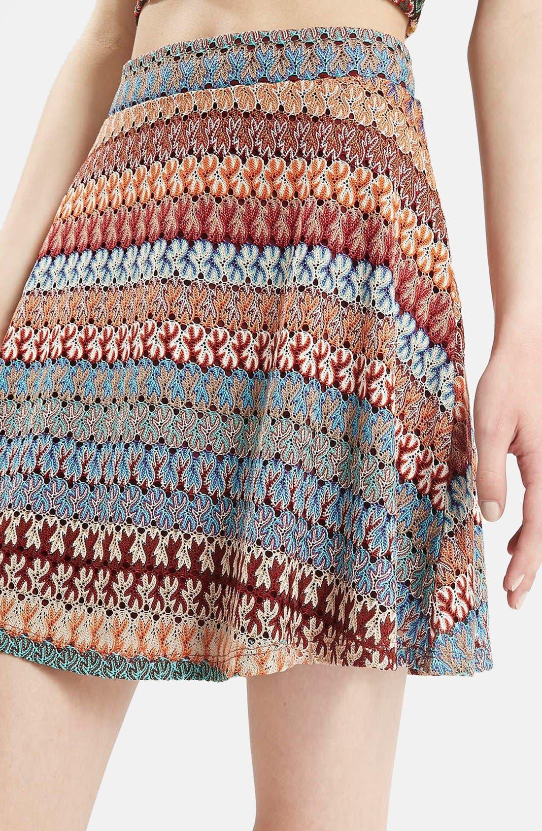 Alternate Image 3  - Topshop Crochet Stripe A-Line Skirt