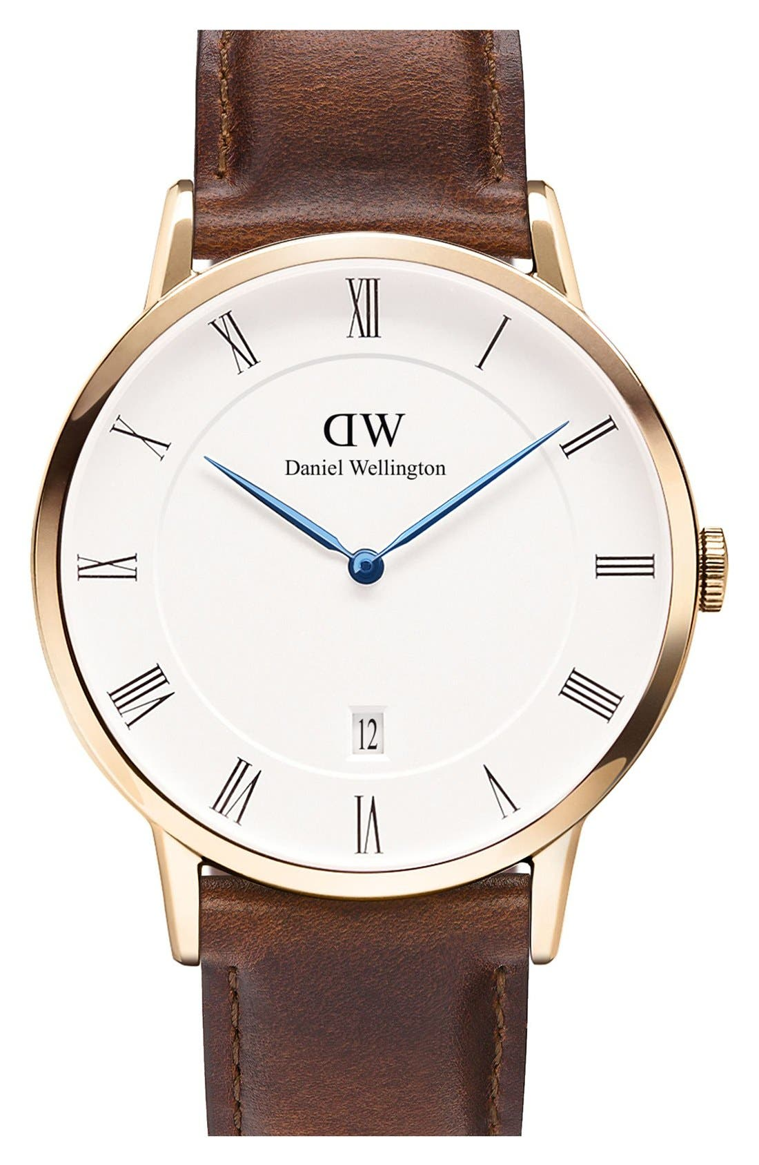 Alternate Image 1 Selected - Daniel Wellington 'Dapper St. Mawes' Leather Strap Watch, 38mm