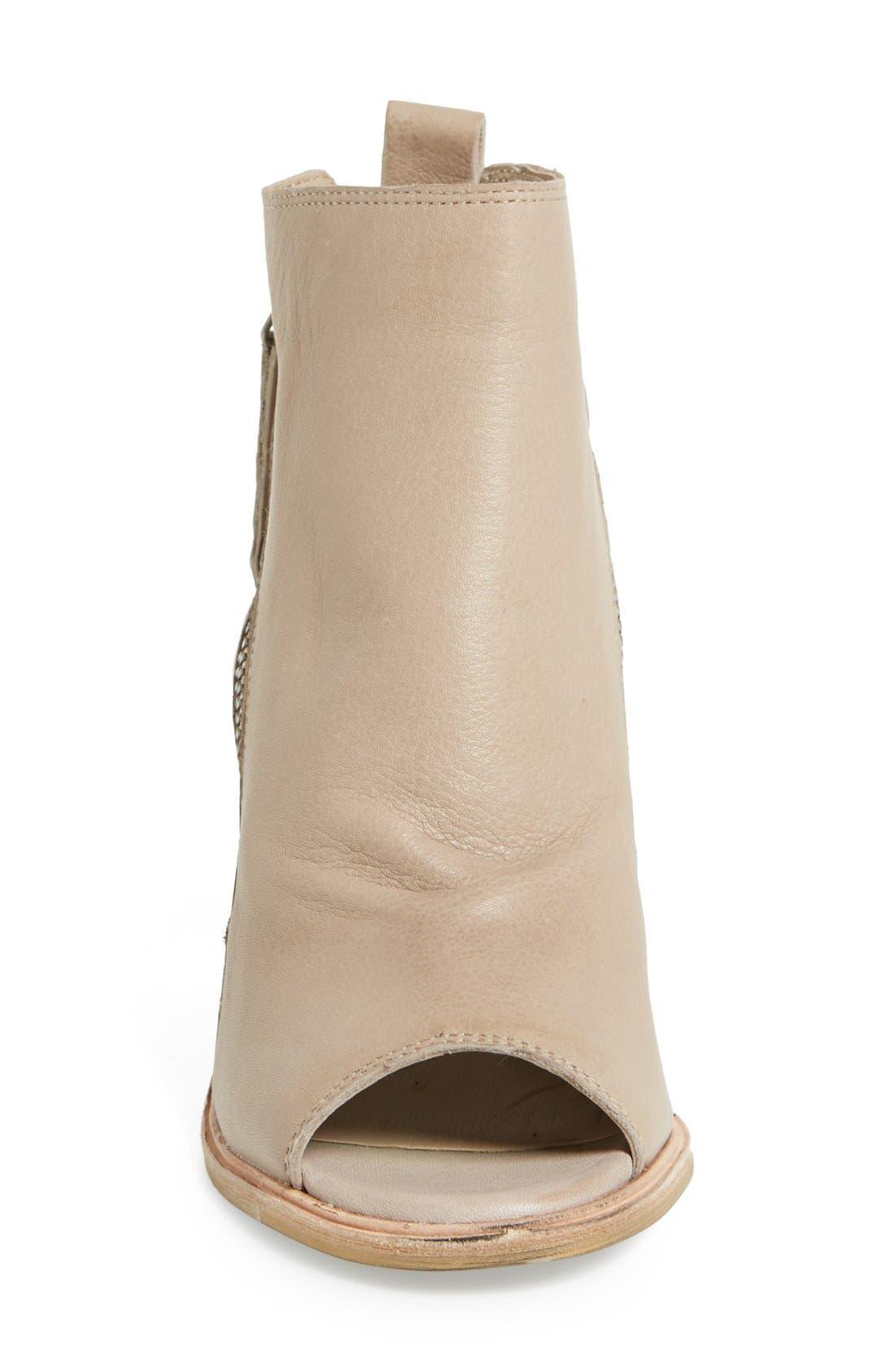 'Port' Open Toe Bootie,                             Alternate thumbnail 3, color,                             Almond Leather