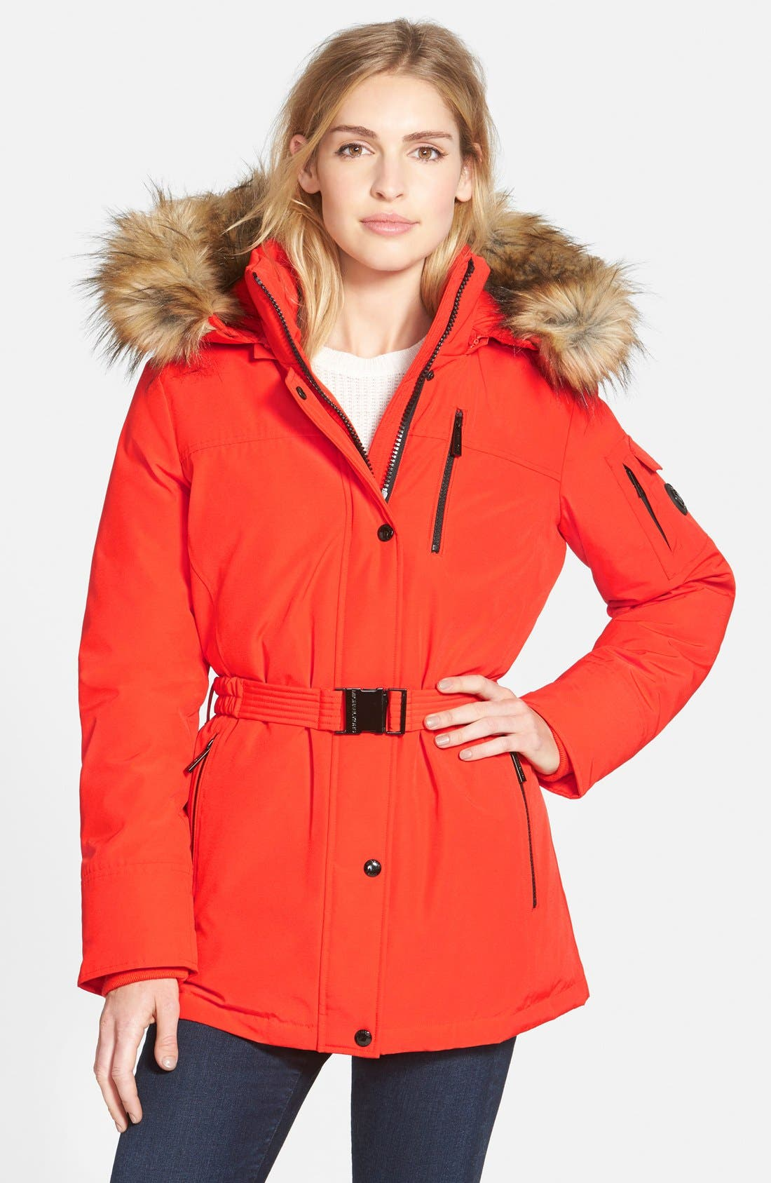 Belted Down & Feather Fill Parka with Detachable Faux Fur Trim Hood,                         Main,                         color, Orange