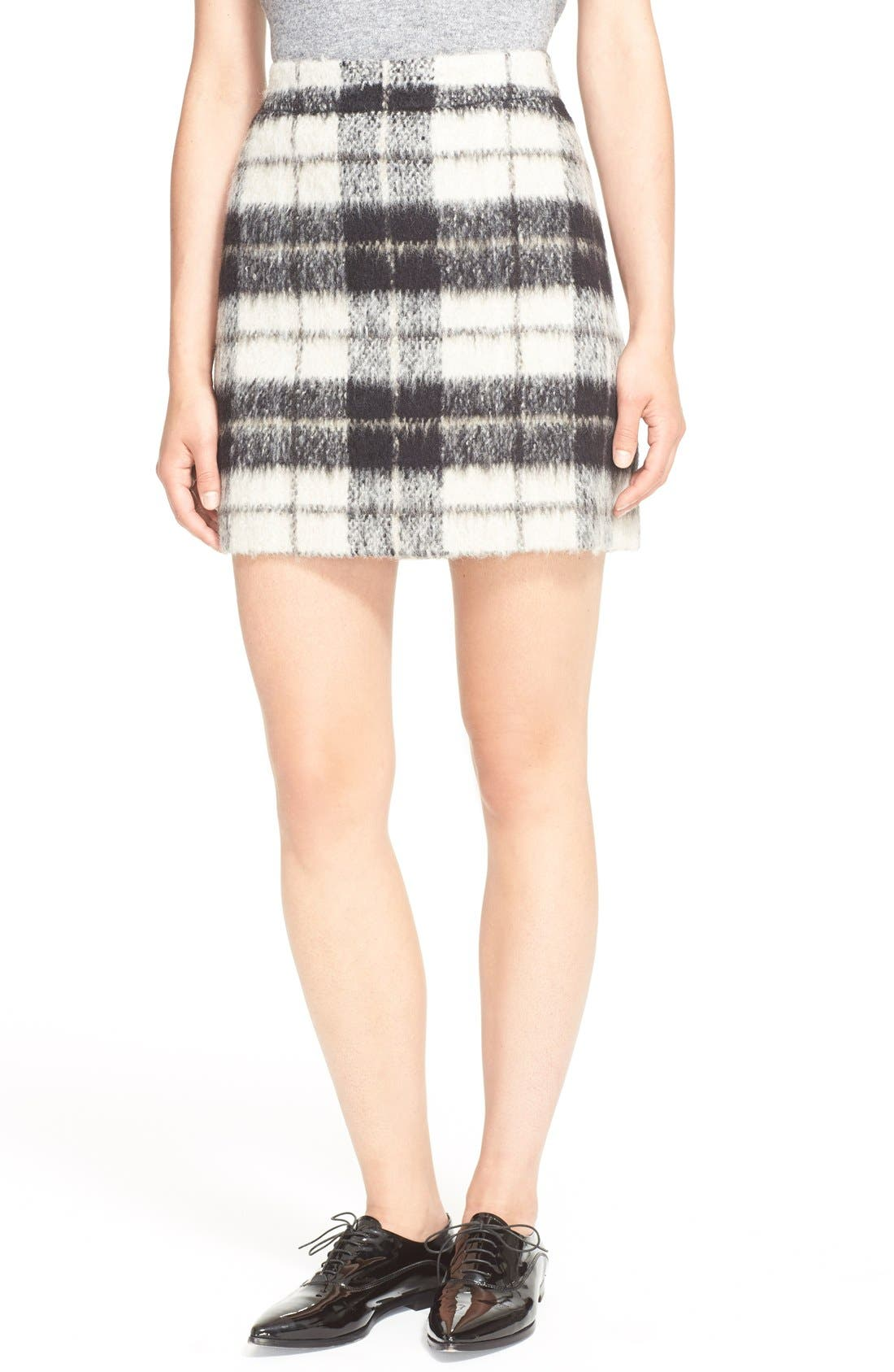 Main Image - kate spade new york 'woodland check' plaid miniskirt