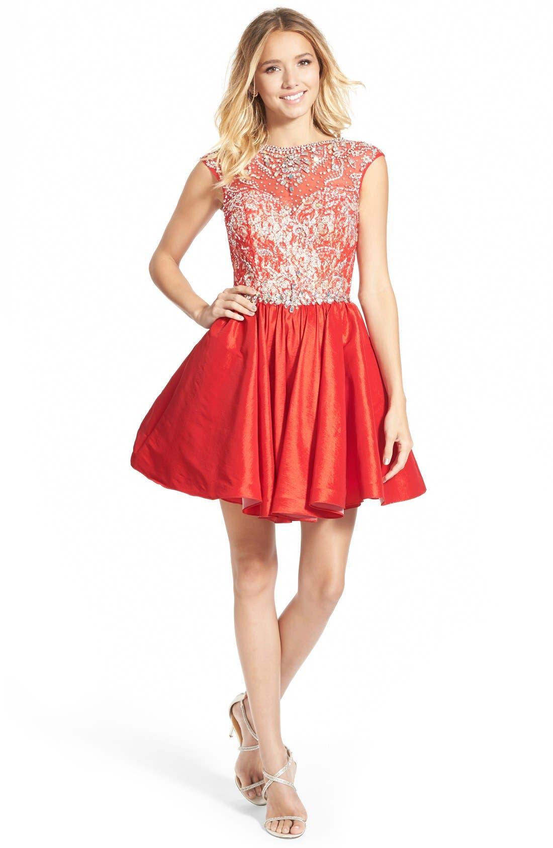 Alternate Image 1 Selected - Mac Duggal Embellished Bodice Skater Dress
