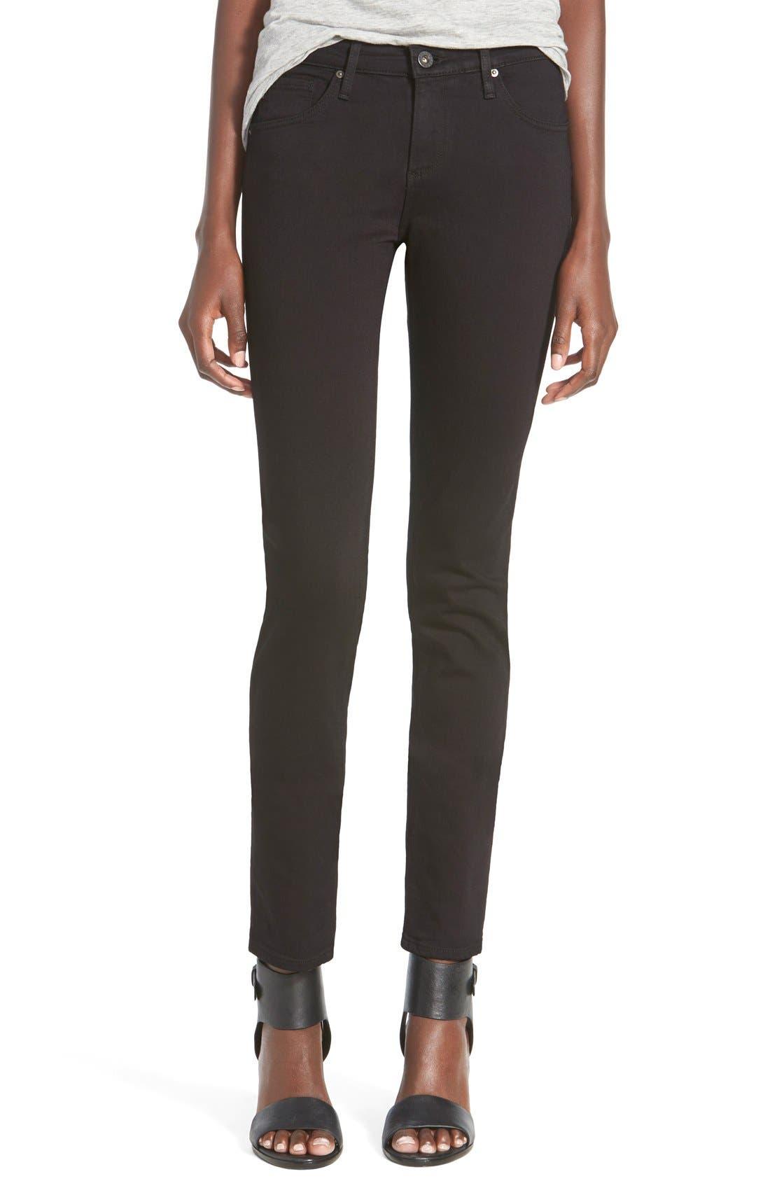 Main Image - AG 'Stilt Cigarette' Skinny Jeans (Super Black)