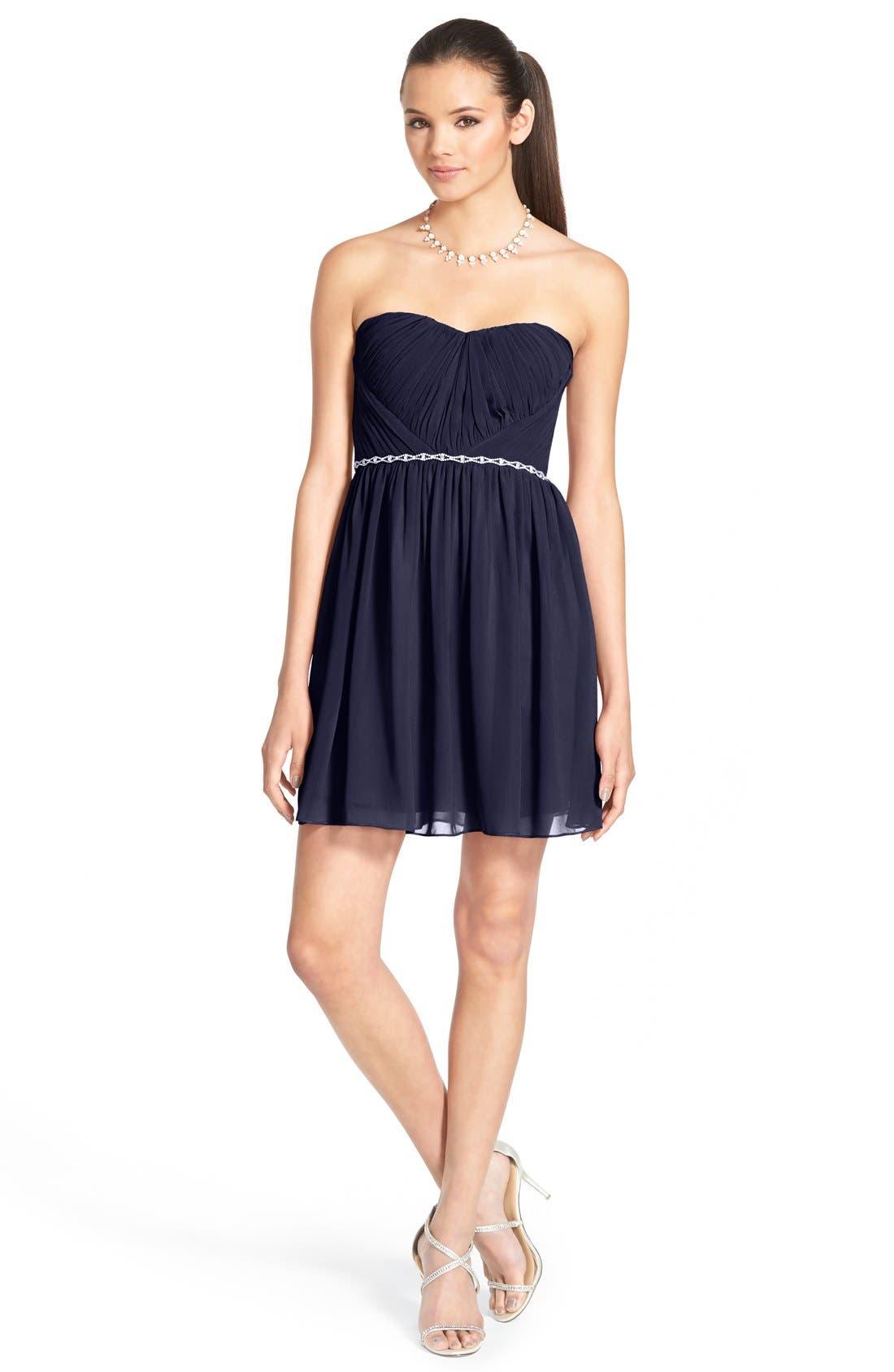 Alternate Image 1 Selected - a. dreaEmbellished Strapless Skater Dress