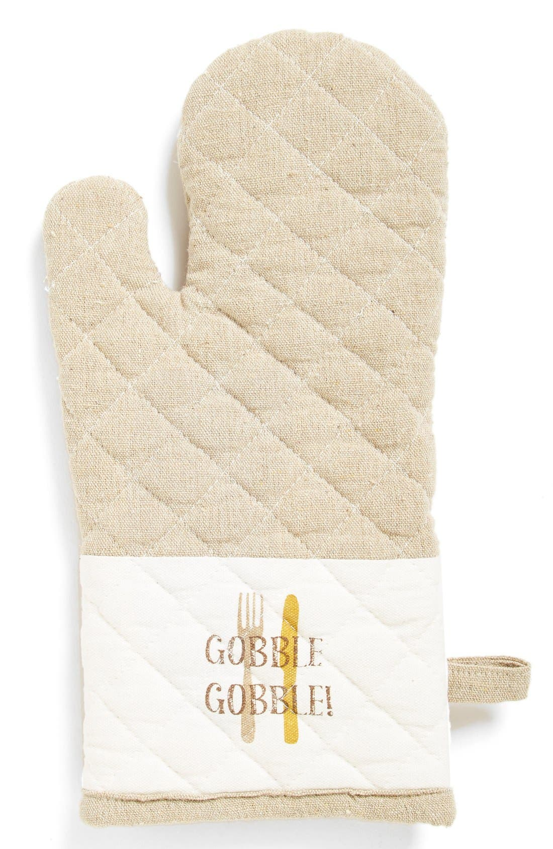 'Gobble Gobble!' Quilted Oven Mitt,                         Main,                         color, Beige