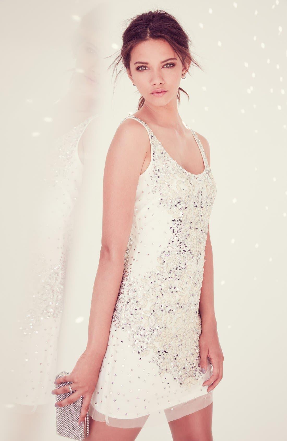 Alternate Image 2  - Adrianna Papell Embellished Mesh Tank Dress
