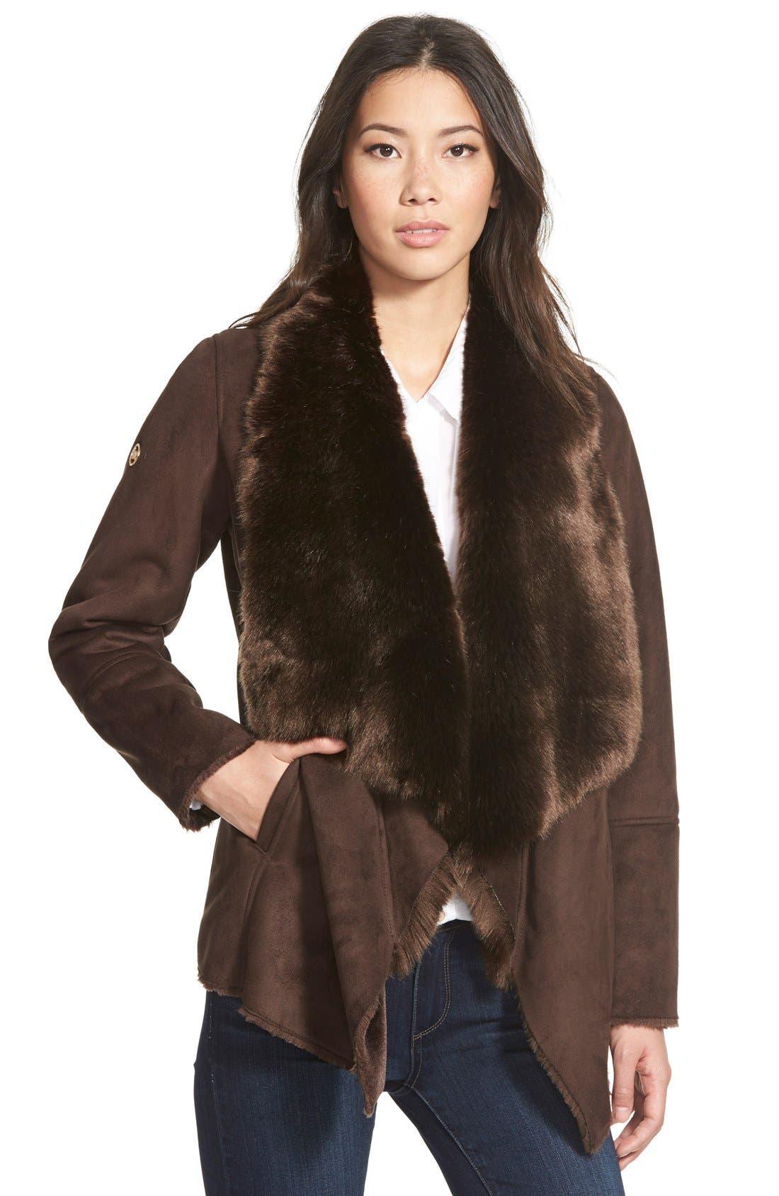 MICHAEL Michael Kors Faux Shearling Drape Front Coat | Nordstrom