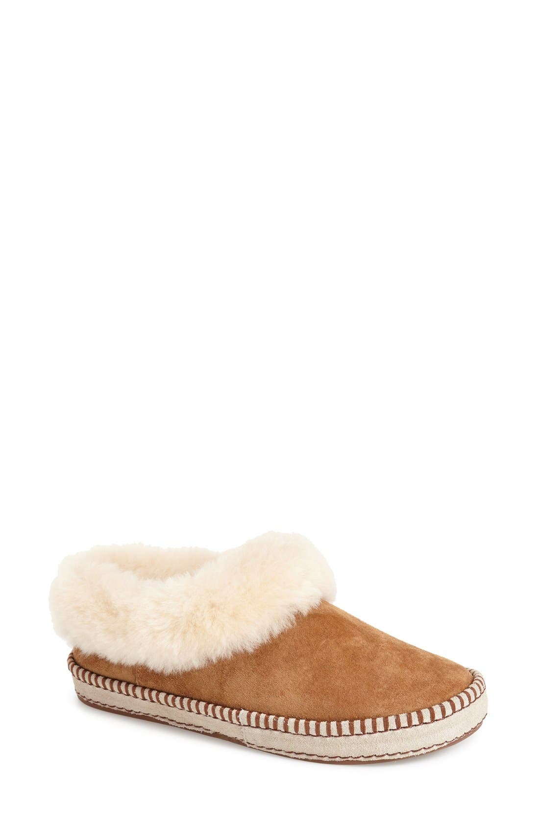Wrin Slipper,                             Main thumbnail 1, color,                             Chestnut Suede