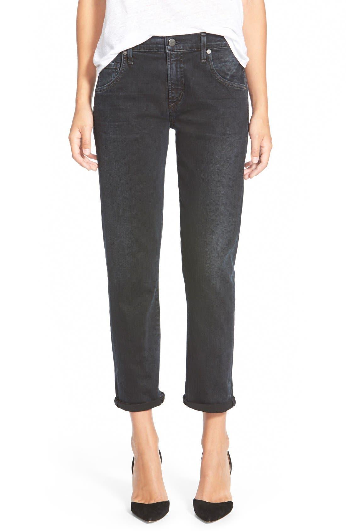Emerson High Waist Boyfriend Slim Jeans,                         Main,                         color, Black And Blue