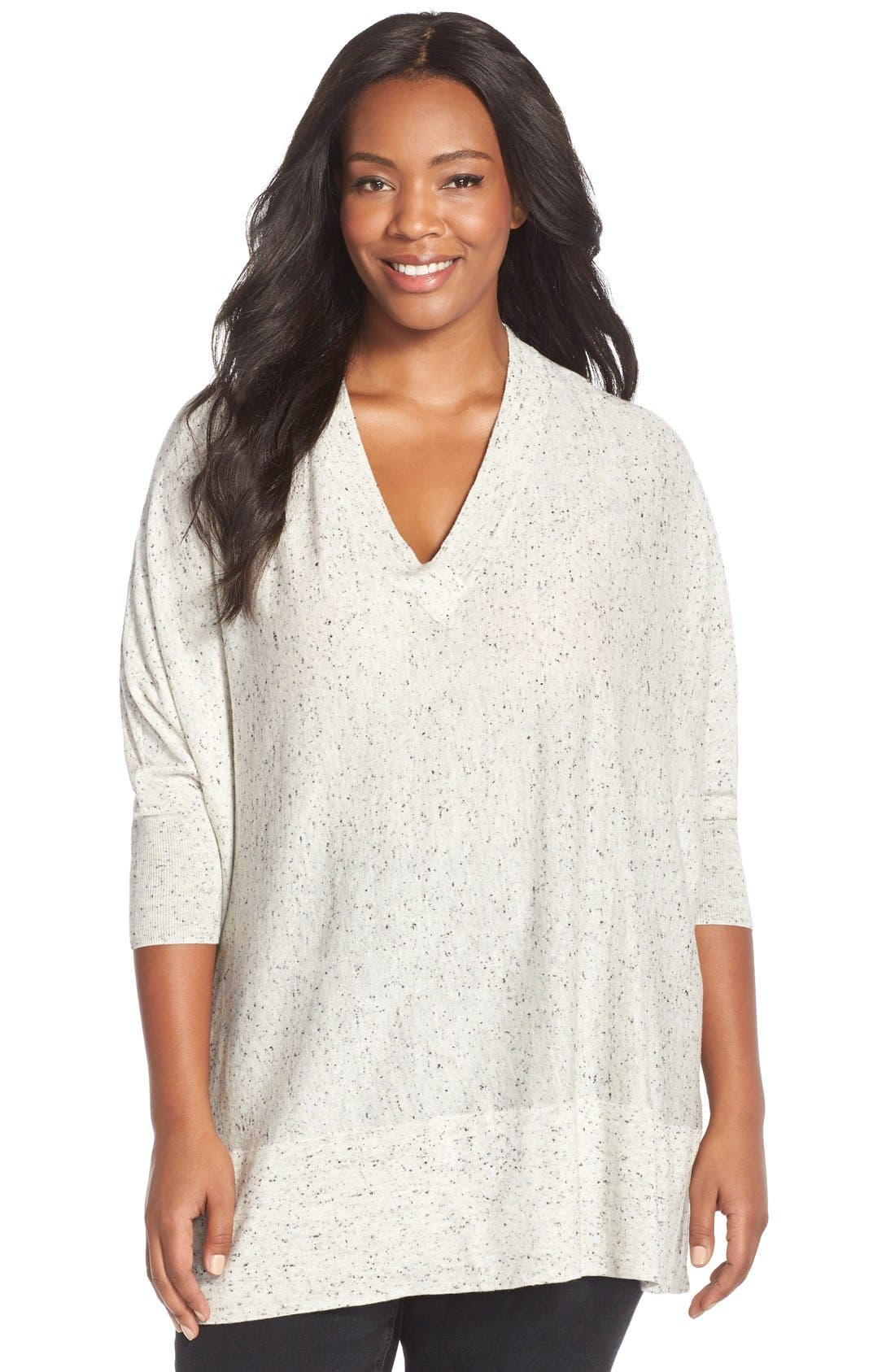 V-Neck Dolman Sleeve Pullover,                         Main,                         color, Grey Heather Black Pattern