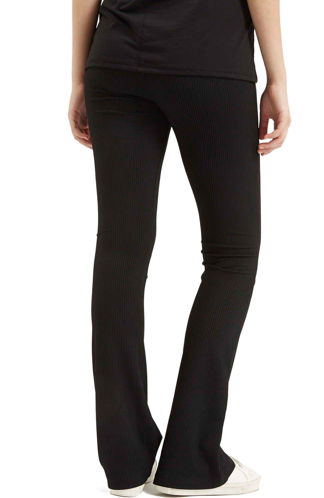 Ribbed Flare Pants,                             Alternate thumbnail 3, color,                             Black