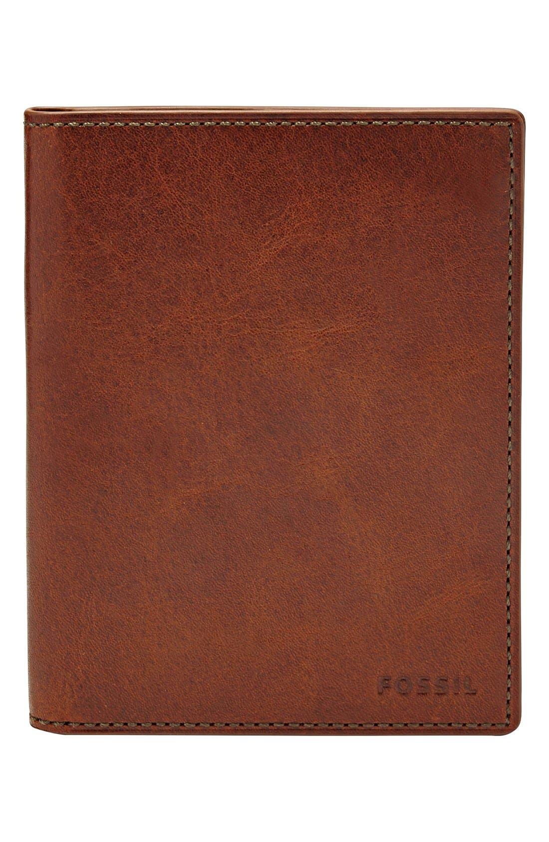 Leather Passport Case,                         Main,                         color, Cognac