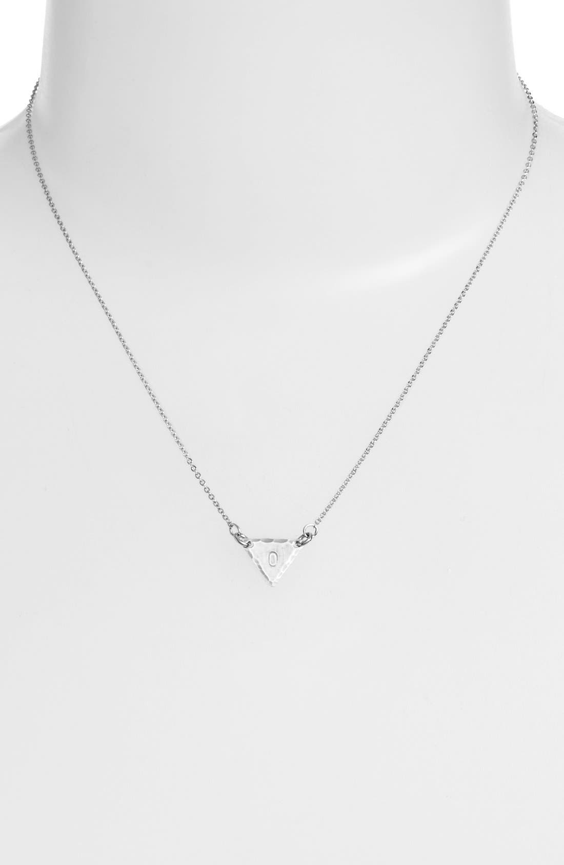 Sterling Silver Initial Mini Triangle Necklace,                             Alternate thumbnail 2, color,                             Sterling Silver O