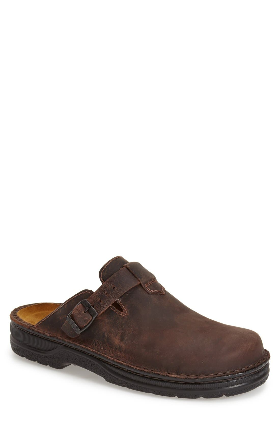 Fiord Clog,                             Main thumbnail 1, color,                             Brown Leather