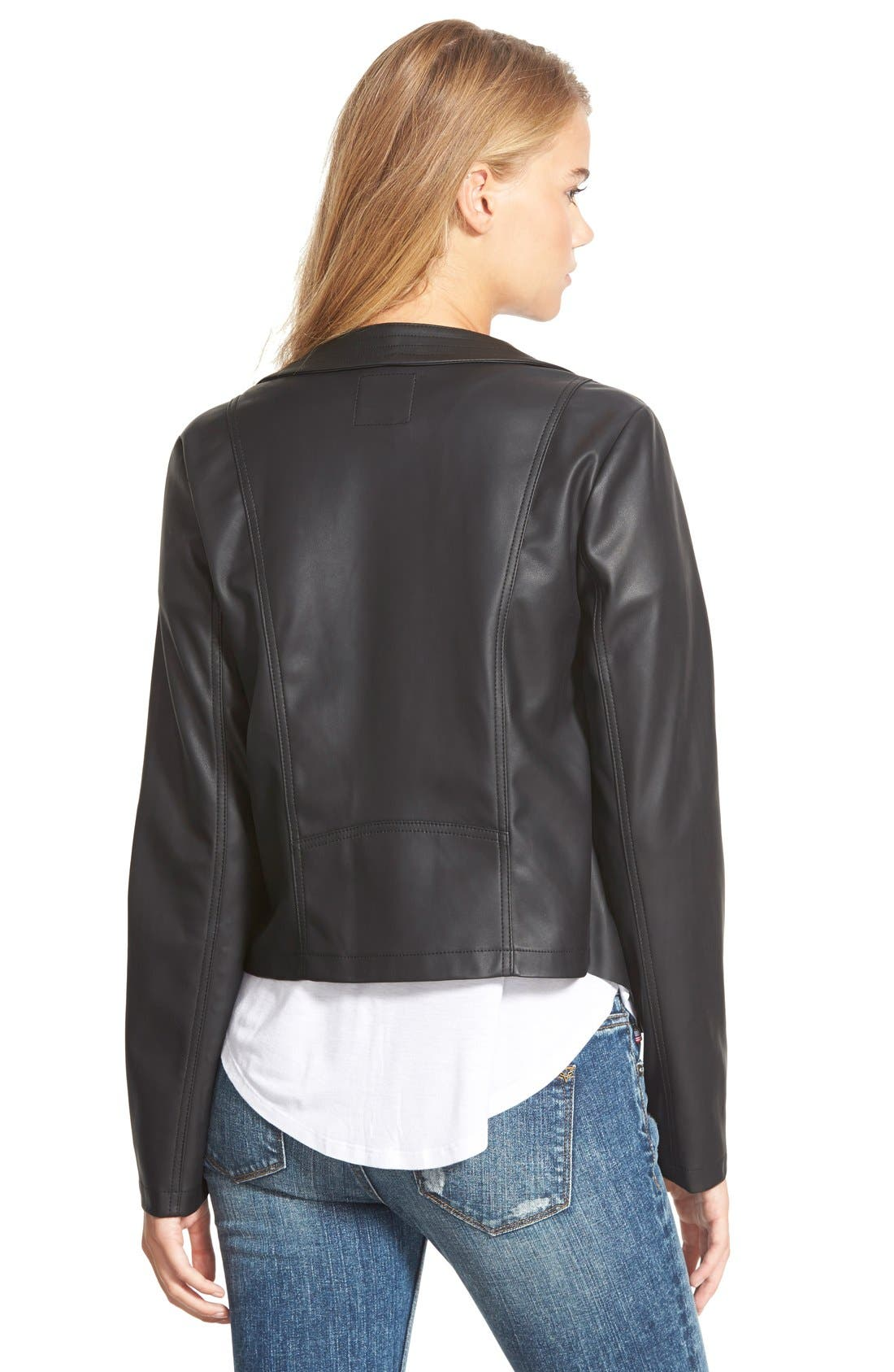 Alternate Image 2  - Collection B Faux Leather Drape Front Jacket