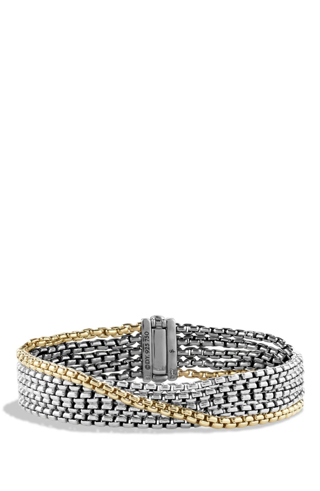 'Chain' Box Chain Five-Row Bracelet with Gold,                         Main,                         color, Two Tone