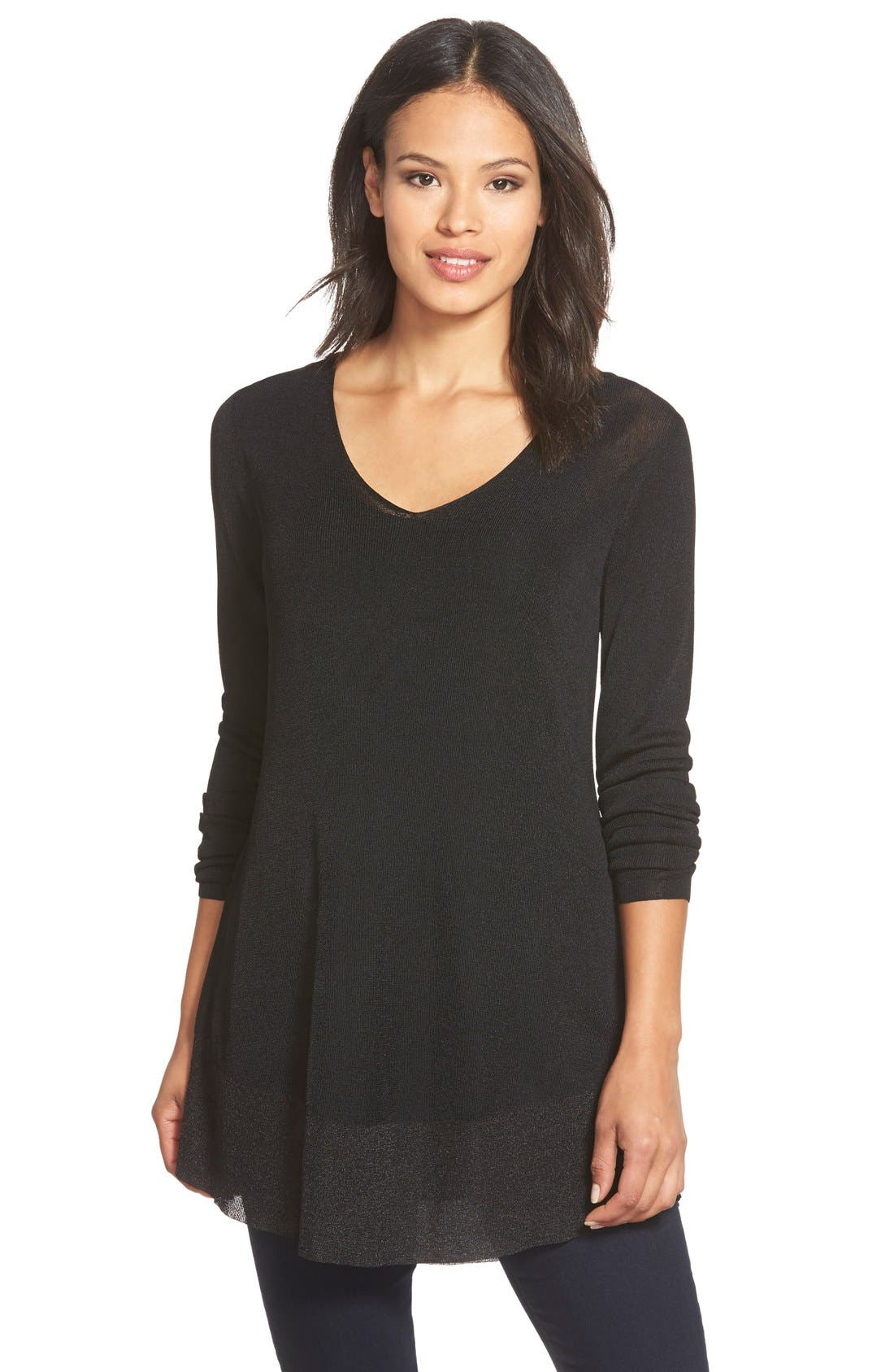Main Image - Eileen Fisher Shimmer V-Neck Tunic (Regular & Petite)