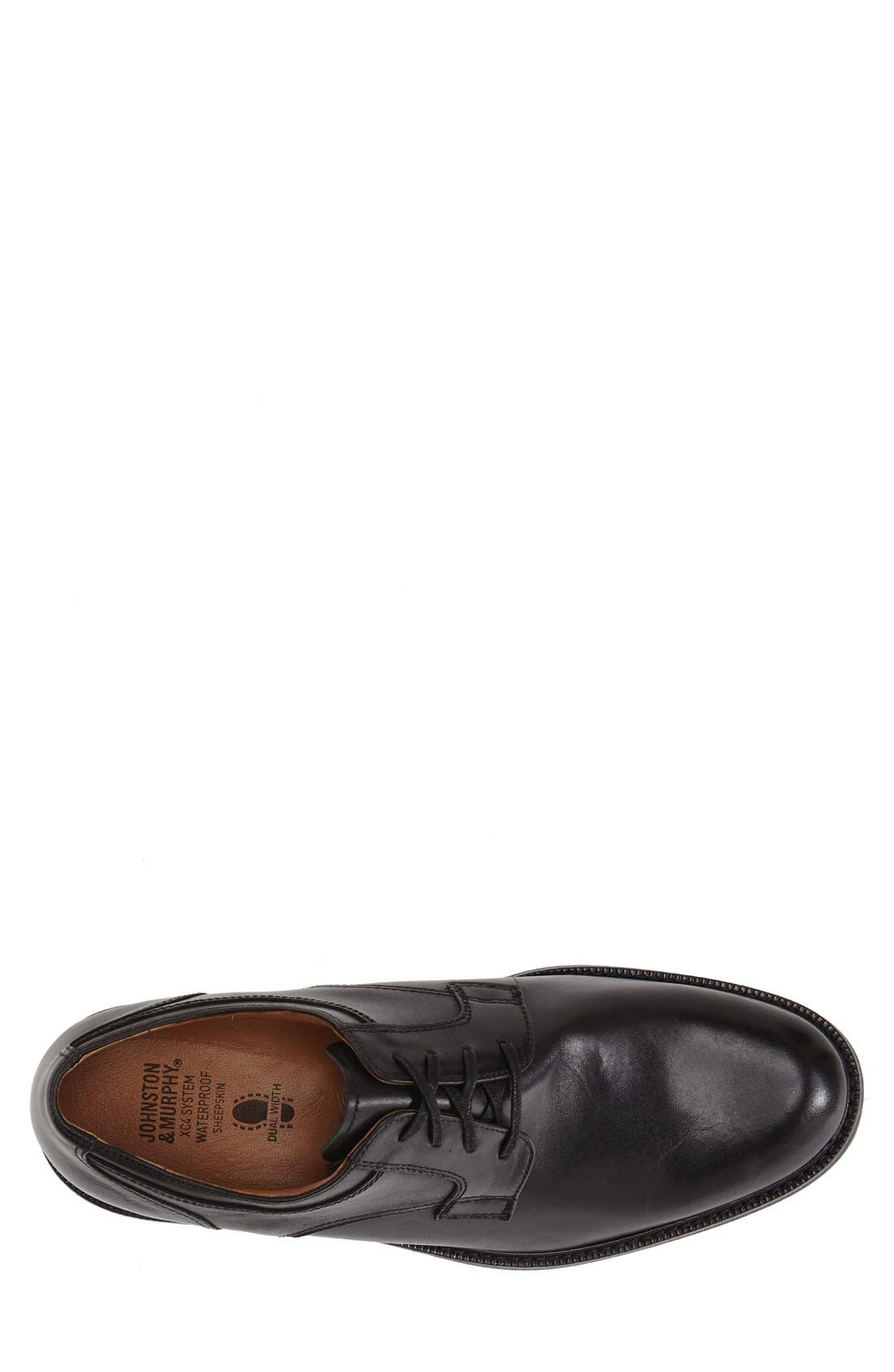'Cardell' Plain Toe Derby,                             Alternate thumbnail 4, color,                             Black Leather
