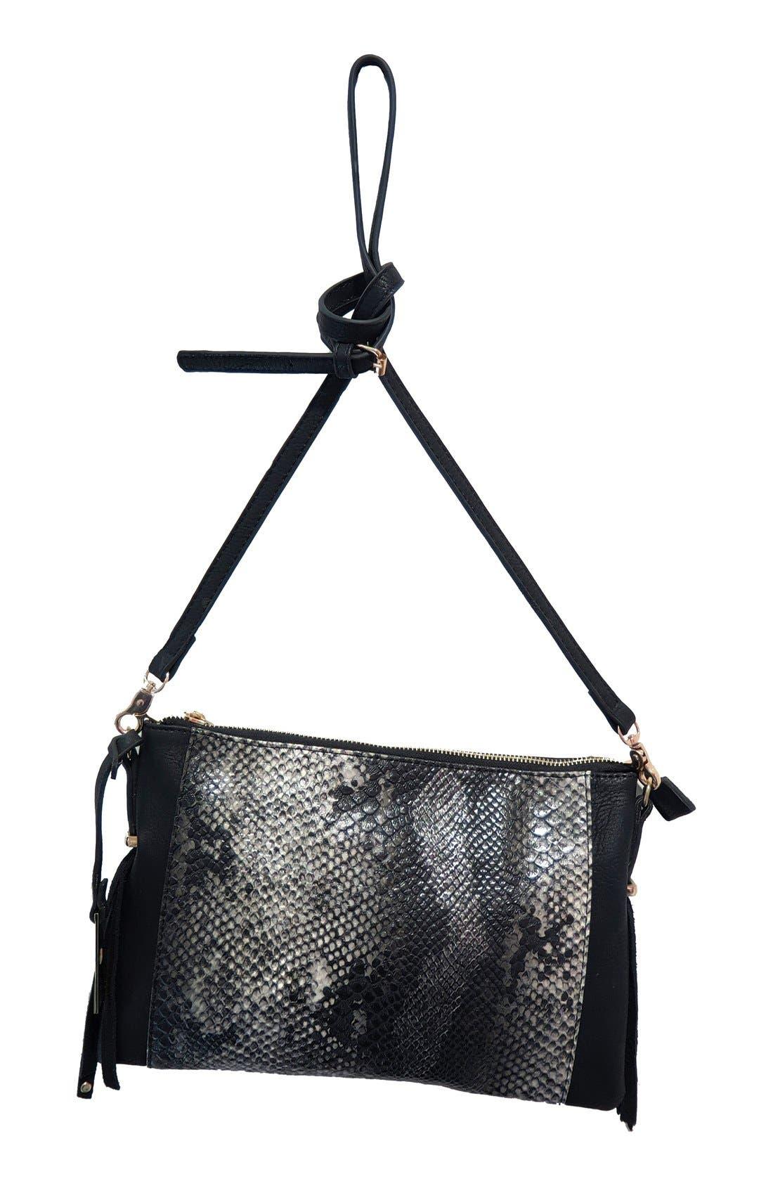 'Infinity' Snake Embossed Convertible Vegan Leather Crossbody Bag,                             Main thumbnail 1, color,                             Black Snake